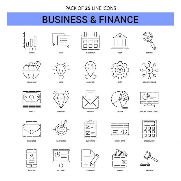 Affaires et finances line icon set - 25 style de contour en pointillés Vecteur Premium