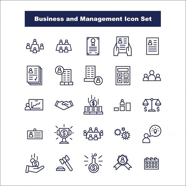 Affaires et gestion icon set vector Vecteur Premium
