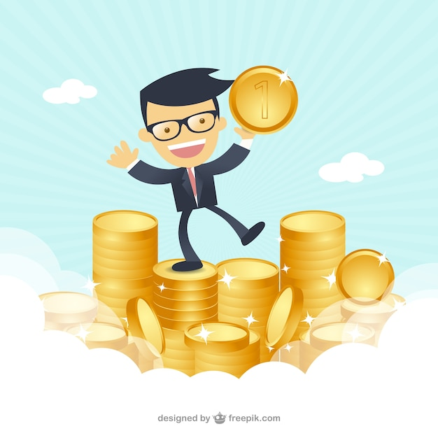 D'affaires heureux avec de l'argent Vecteur gratuit