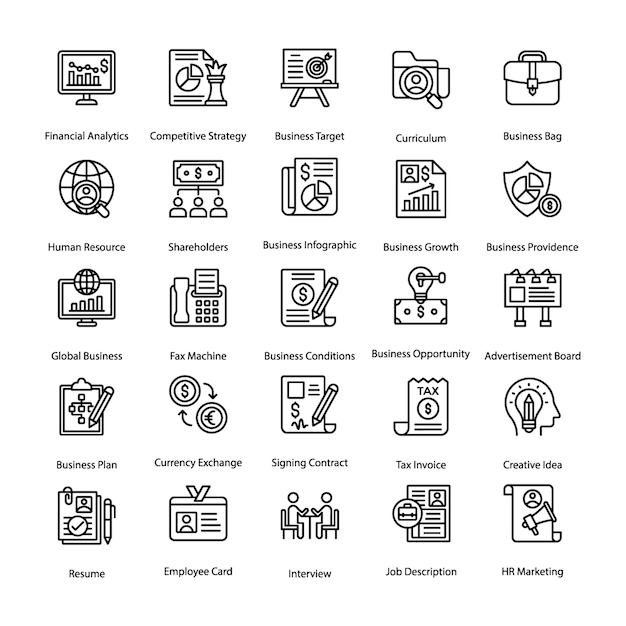 Affaires et hr line icons set Vecteur Premium