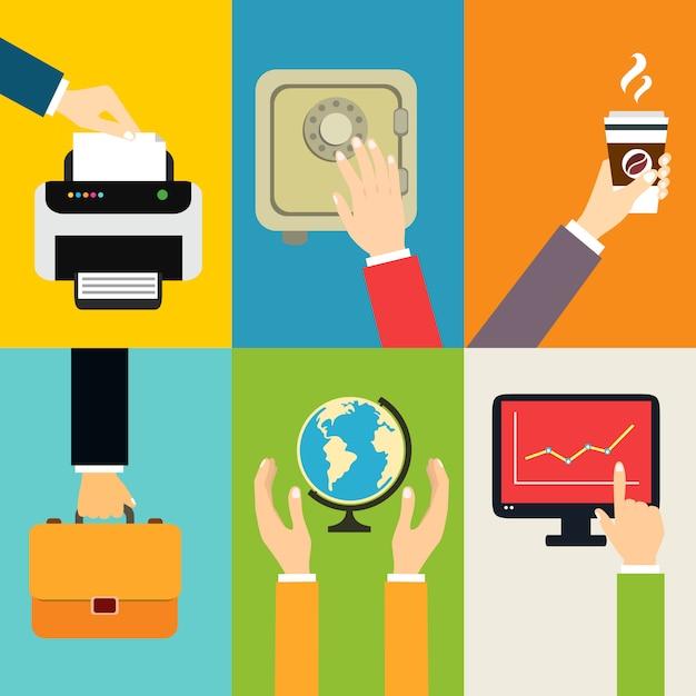 Affaires, mains, gestes, éléments de conception, mettre, papier, à, imprimante, toucher, isolé, illustration vectorielle Vecteur gratuit
