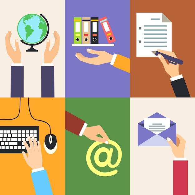 Affaires mains gestes des éléments de conception de la tenue du dossier globe signe l'illustration vectorielle de document isolé Vecteur gratuit