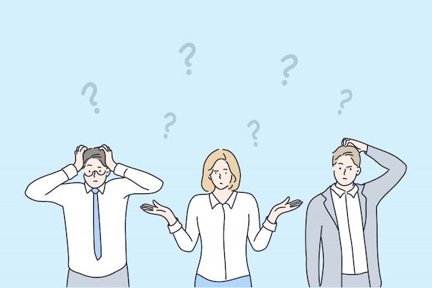 Affaires, Problème, Question, Réflexion, Brainstorming Set Concept Vecteur Premium