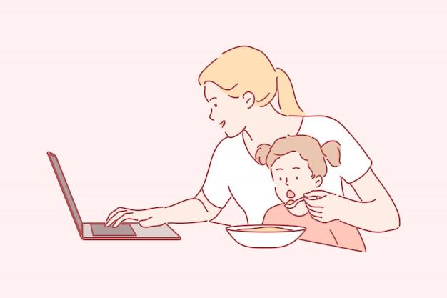 Affaires, Quarantaine, Coronavirus, Maternité Indépendante, Enfance, Concept De Travail Vecteur Premium