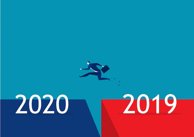 Affaires Sautant De 2019 à 2020 Vecteur Premium