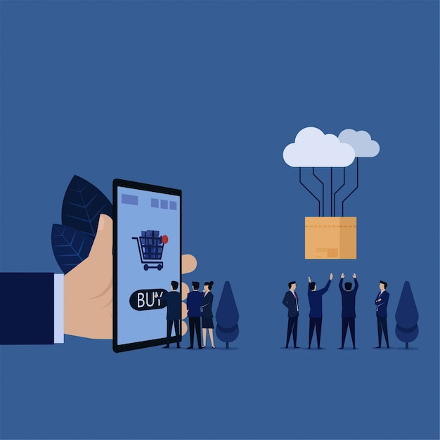 Affaires touchez sur le téléphone portable pour acheter en ligne et métaphore de la boîte de transfert cloud pour faire des achats en ligne. Vecteur Premium
