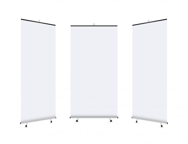 Affichage De Bannière Roll-up Vierge. Roll Up Banner Stand Vecteur Premium