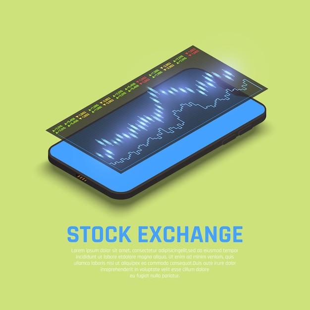 Affichage Du Smartphone En Bourse Avec Des Informations Sur Les Marchés Financiers En Temps Réel Pour Les Investisseurs De Fonds Composition Isométrique Vecteur gratuit