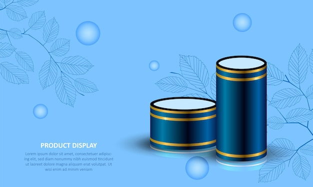 Affichage De Produit De Podium De Cylindre Sur Fond Bleu Vecteur Premium