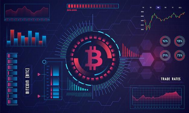 Affichage tête haute d'une plateforme de trading bitcoin. Vecteur Premium