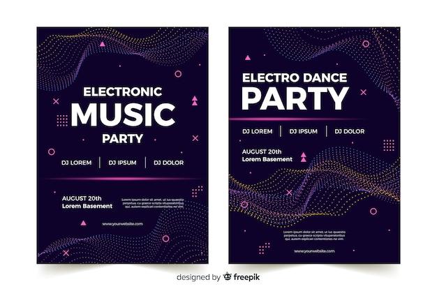 Affiche abstraite de musique électronique Vecteur gratuit
