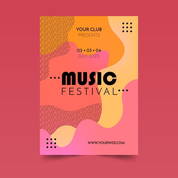 Affiche Abstraite De Musique Fluide Vecteur gratuit