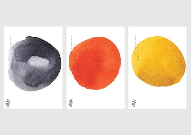 Affiche Abstraite Avec Vecteur De Style Vague Japonaise. Texture Aquarelle Dans Un Style Chinois. Vecteur Premium
