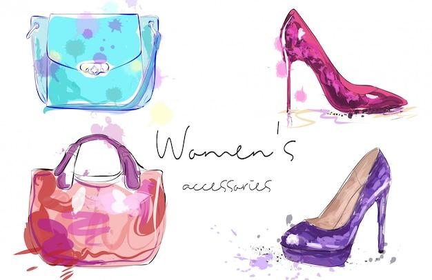 Affiche d'accessoires pour femmes. Vecteur Premium