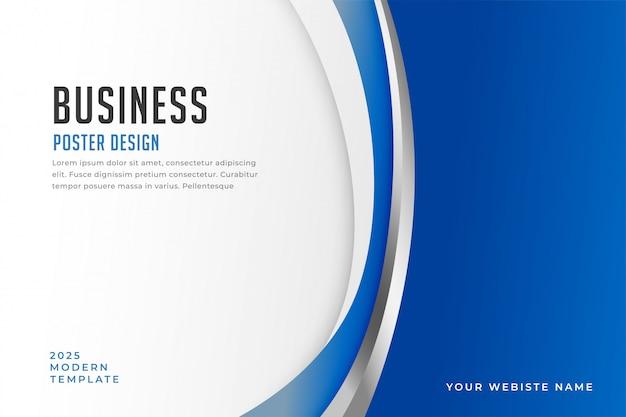 Affiche D'affaires Avec Des Formes De Courbes Bleues élégantes Vecteur gratuit