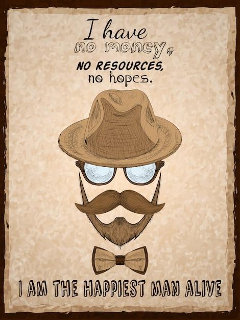 Affiche d'affiche hipster dessinée à la main Vecteur gratuit