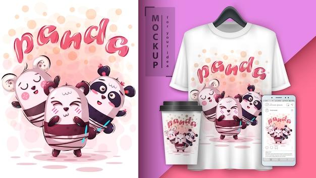 Affiche d'ami panda et merchandising Vecteur Premium