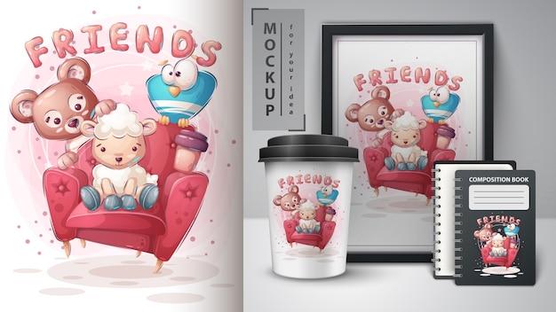 Affiche D'amis Sur Canapé Et Merchandising Vecteur gratuit