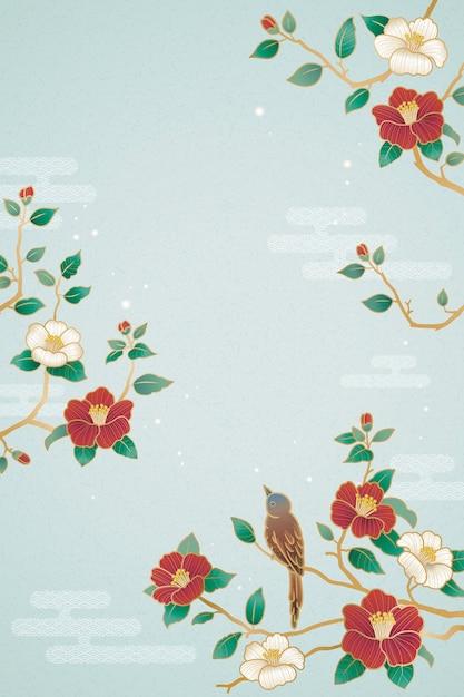Affiche De L'année Lunaire Gracieuse Avec Des Décorations D'oiseaux Et De Camélia Sur Fond Bleu Vecteur Premium