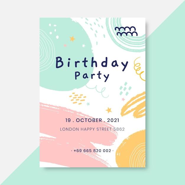 Affiche D'anniversaire Enfantine Peinte Abstraite Vecteur gratuit