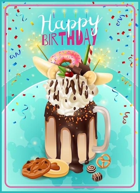 Affiche d'annonce de fête d'anniversaire de freakshake extrême Vecteur gratuit