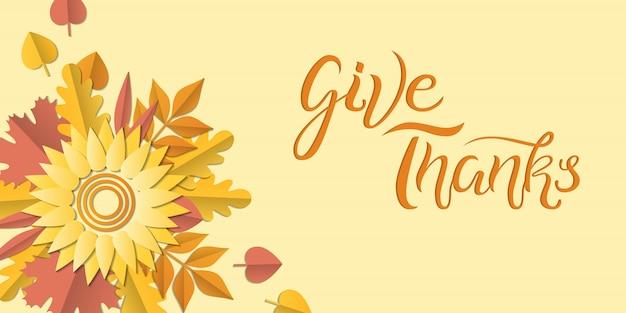 Affiche automne dessinés à la main avec des feuilles colorées, style art papier. illustration donner merci Vecteur Premium