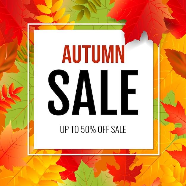 Affiche D'automne Avec Des Feuilles Colorées Avec Filet De Dégradé, Illustration Vecteur Premium