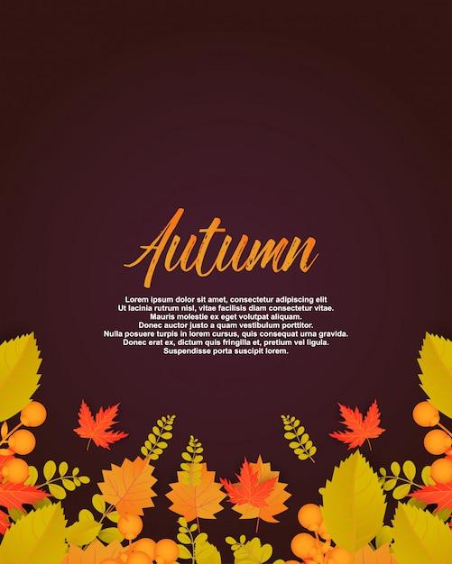 Affiche d'automne avec des feuilles et des éléments floraux. Vecteur Premium