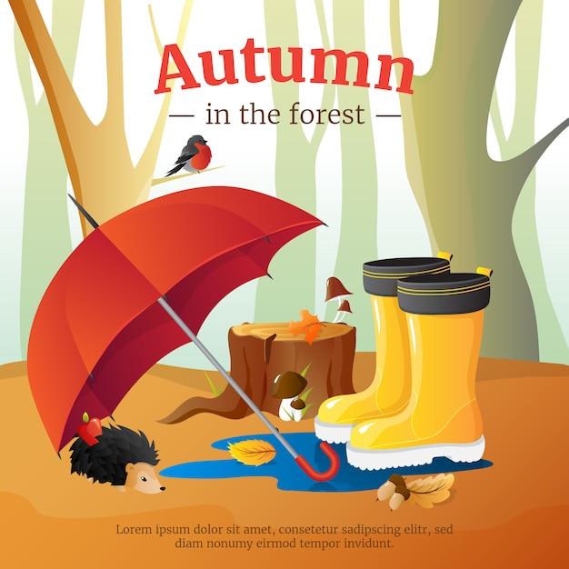 Affiche d'automne en forêt avec parapluie rouge Vecteur gratuit