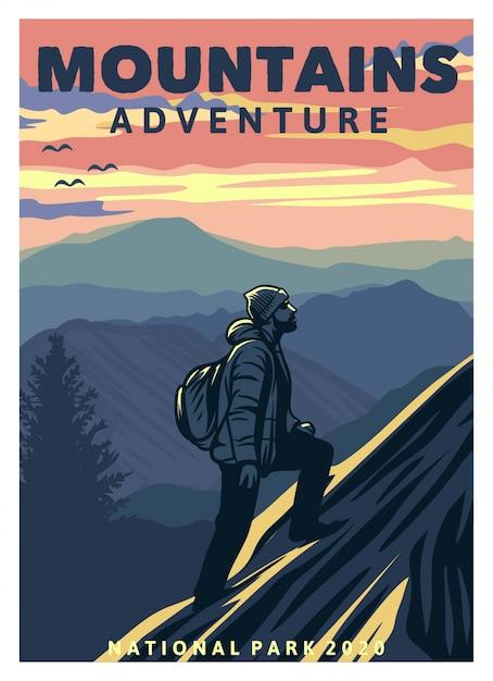 Affiche D'aventure En Montagne Vecteur Premium