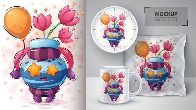 Affiche de ballon à air et merchandising Vecteur Premium