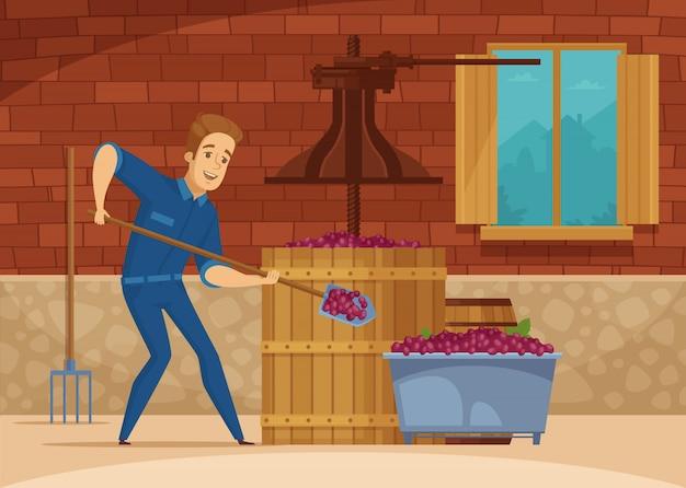 Affiche de bande dessinée écrasante de raisins de vignoble Vecteur gratuit