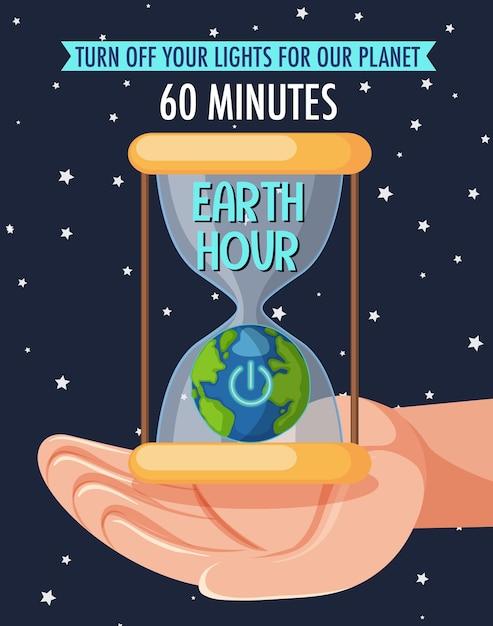 Affiche Ou Bannière De La Campagne Earth Hour éteignez Vos Lumières Pour Notre Planète 60 Minutes Vecteur Premium