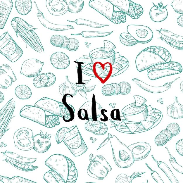 Affiche de la bannière avec des éléments de la cuisine mexicaine esquissée avec lettrage Vecteur Premium