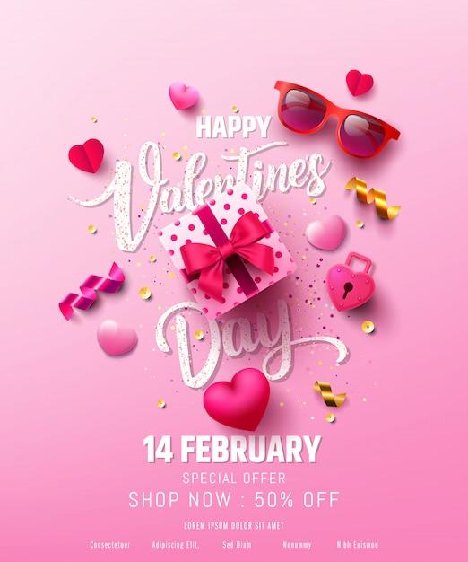 Affiche Ou Bannière De Vente De La Saint-valentin Avec Un Cadeau Sucré, Un Cœur Doux Et De Beaux Articles Vecteur Premium