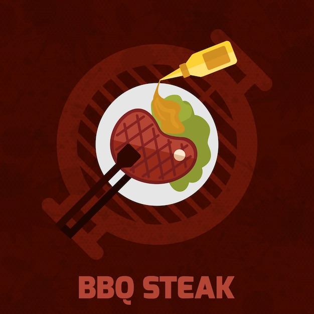Affiche de bbq steak Vecteur gratuit