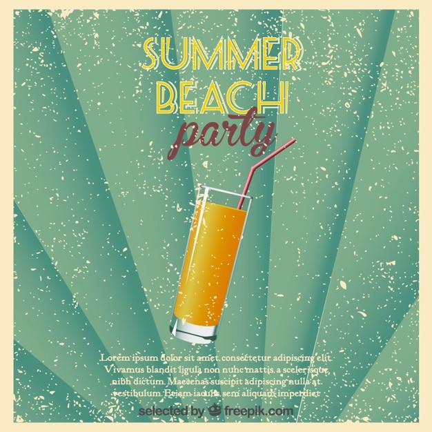 Affiche beach party des consommateurs retro Vecteur gratuit