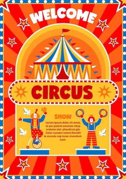 Affiche de bienvenue du spectacle de cirque Vecteur gratuit