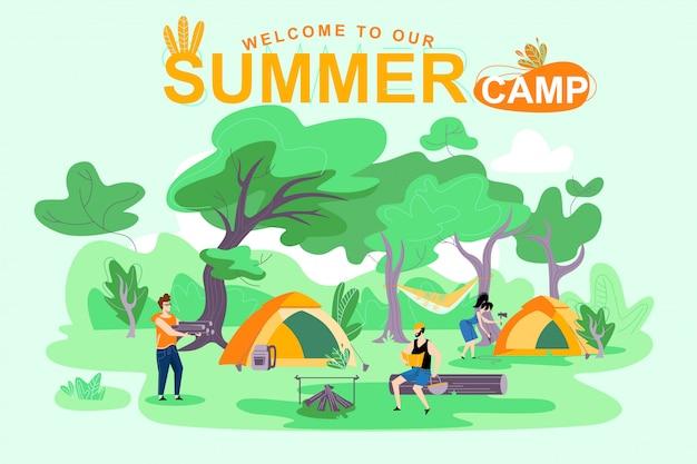 Affiche bienvenue à notre camp d'été, lettrage Vecteur Premium