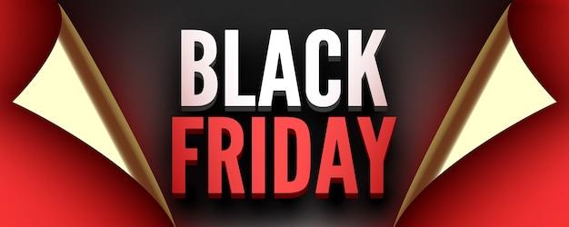 Affiche Black Friday Ruban Rouge Aux Bords Incurvés Vecteur Premium