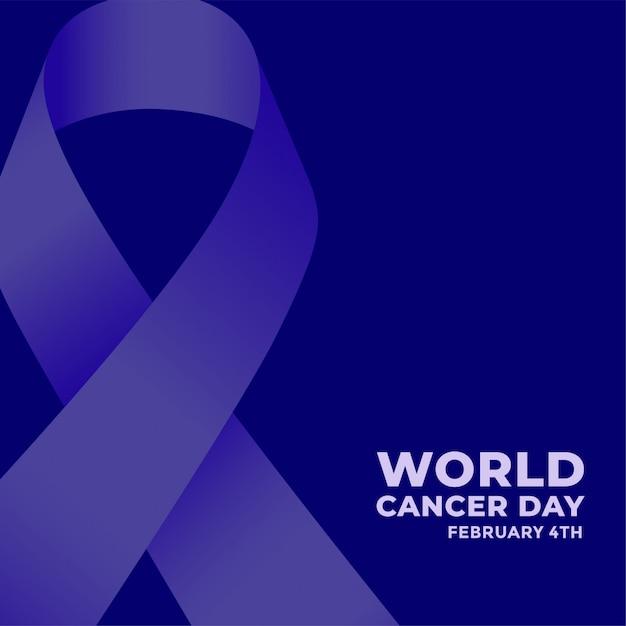 Affiche Bleue De La Journée Mondiale Contre Le Cancer Avec Ruban Vecteur gratuit