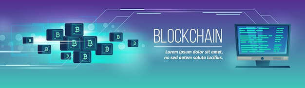 Affiche de blockchain de vecteur Vecteur gratuit