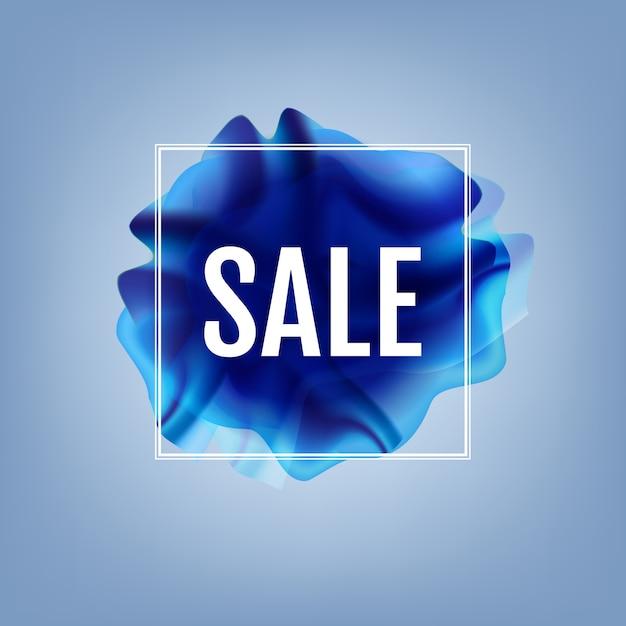 Affiche blue flow avec bannière de vente Vecteur Premium