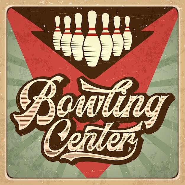 Affiche de bowling publicitaire rétro. affiche vintage. Vecteur Premium