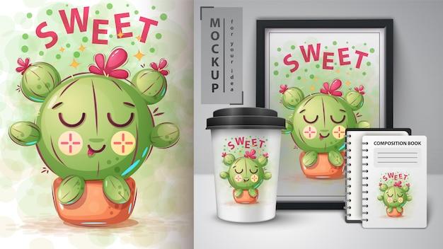 Affiche de cactus sucré et merchandising Vecteur Premium