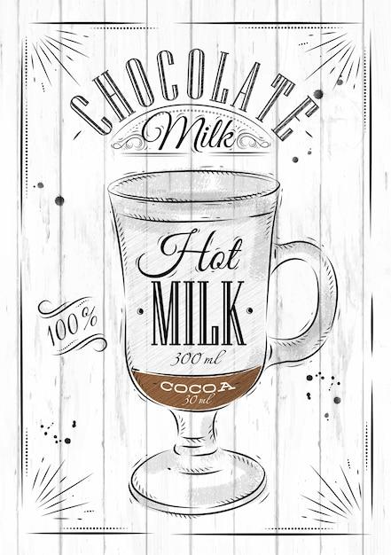 Affiche café chocolat au lait dans un style vintage, dessin sur fond de bois Vecteur Premium