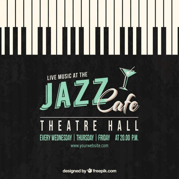 Affiche de café jazz Vecteur gratuit