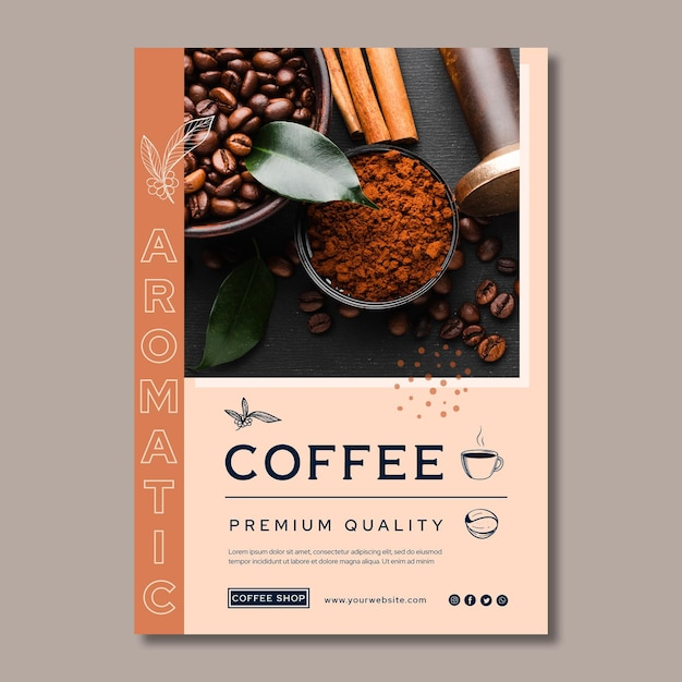 Affiche De Café De Qualité Supérieure Vecteur gratuit