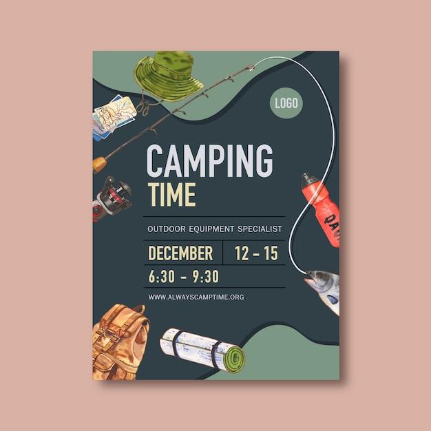 Affiche de camping avec chapeau de seau, canne, poisson et sac à dos Vecteur gratuit