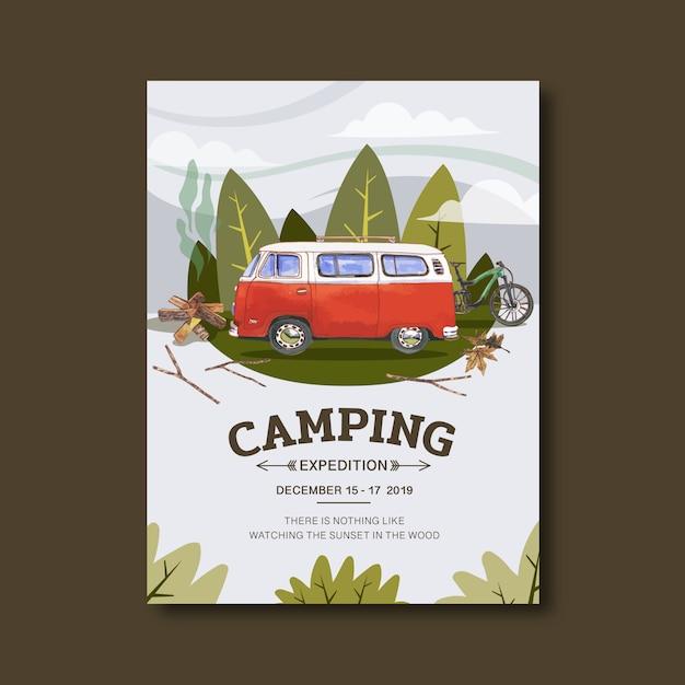 Affiche de camping avec illustration van Vecteur gratuit